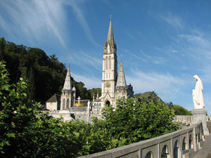 Shrine seen from the Upper Grotto in Lourdes